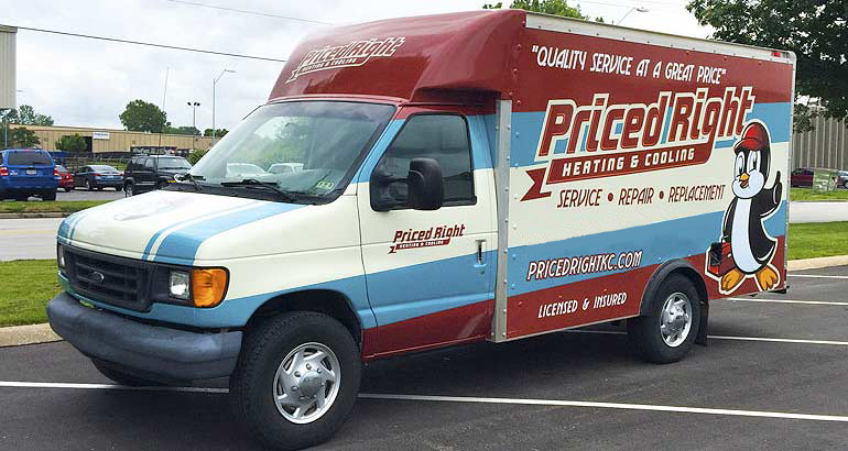 Priced Right Heating & Cooling service truck